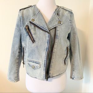 Light Denim, Zippered Moto Jean Jacket